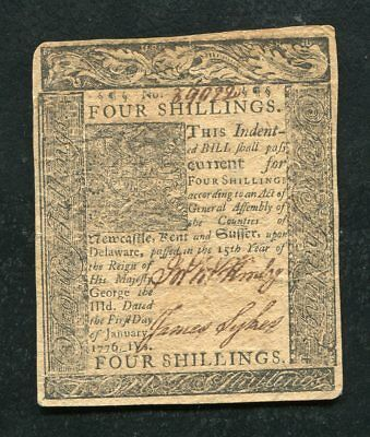 DE-76 JANUARY 1, 1776 4s FOUR SHILLINGS DELAWARE COLONIAL CURRENCY NOTE