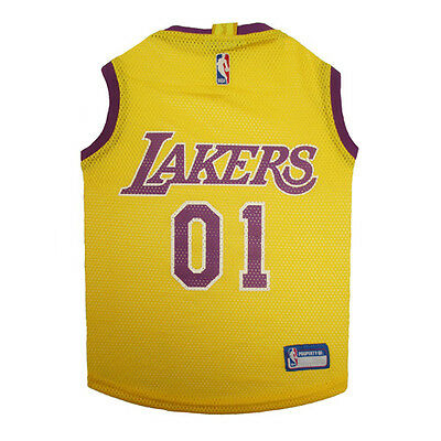 d8063186154d Los Angeles Lakers NBA Officially Licensed Pets First Dog Pet Mesh Yellow  Jersey
