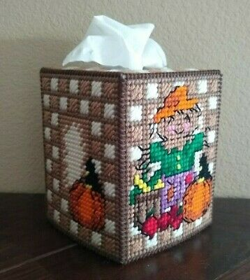 Handmade Finished Scarecrow Autumn Thanksgiving Tissue Box Cover Home Decor