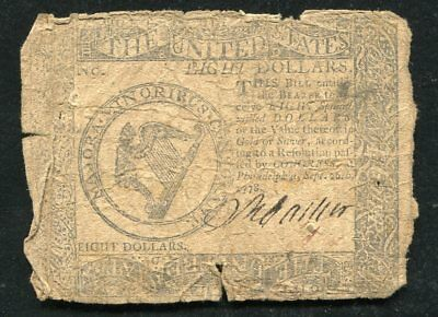 Cc-81 September 26, 1778 $8 Eight Dollars Continental Currency Note