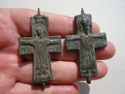lot late Roman/Byzantine parts of bronze crosses,displayed a Jesus in crucified