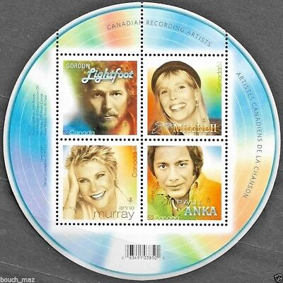 Canada Stamps — Souvenir sheet — Canadian Recording Artists #2221 — MNH