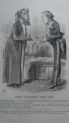 Abolition of Slavery. Sultan Barghash of Zanzibar & Sir Bartle Frere.1875 print.