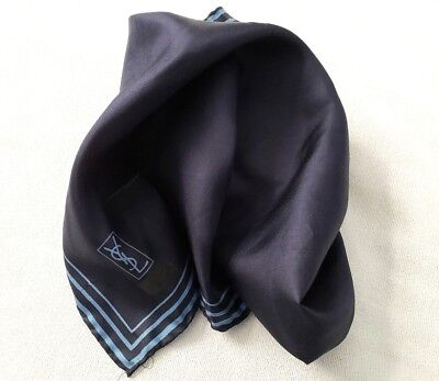 Vintage YVES SAINT LAURENT Silk Pocket Square Handkerchief Hand Rolled