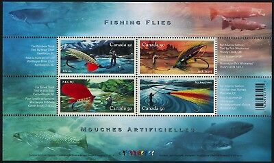 Canada Stamps - Souvenir sheet of 4 - Fishing Flies #2087 - MNH