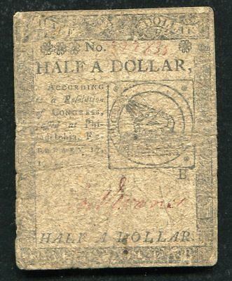 Cc-21 February 17, 1776 $1/2 One Half Dollar Continental Currency Note