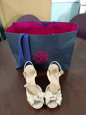 9d9ee109aca TORY BURCH Penny Logo Bow Espadrille Platform Wedge Sandal 7.5 M Solid  Gorgeous!