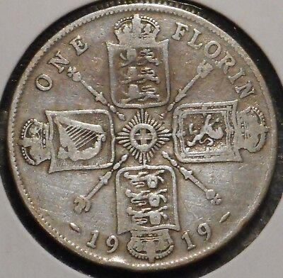 British Florin - 1919 - King George V - $1 Unlimited Shipping