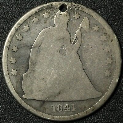 1841 Seated Liberty Silver Dollar - Holed