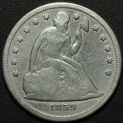 1859 O Seated Liberty Silver Dollar - Cleaned