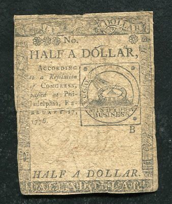 Cc-21 February 17, 1776 $1/2 One Half Dollar Continental Currency Note (F)