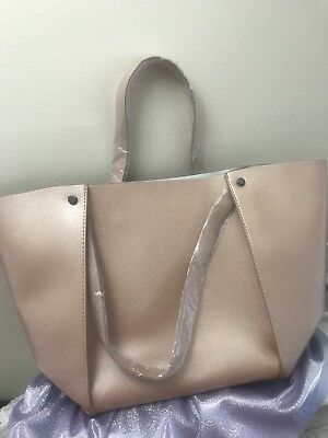 Neiman Marcus Shopping Tote Faux Leather Rose Gold Brand New