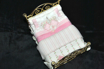 RARE DOLLHOUSE MINIATURE BED by LORRAINE SCUDERI c1991 Signed Gold Tone Metal