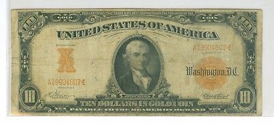 1907 $10 Large Gold Coin Certificate Scarce Fr 1167 Vernon-Treat
