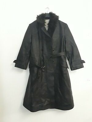 Vintage Military German Officer Long Black Leather Trench Coat Large See Desc.
