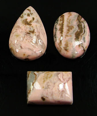88.95 Ct Natural Pink Rhodochrosite Cabochon Loose Gemstone Lot 3 Pc new H-6711