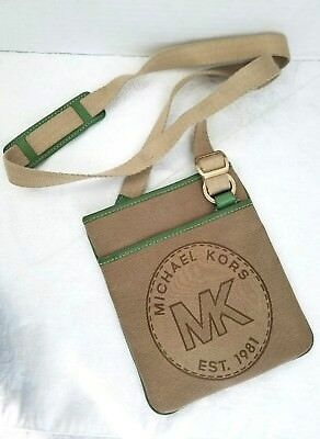 Micheal Kors Small Tan Canvas Crossbody/Shoulder Bag w/ Green Leather Trimming