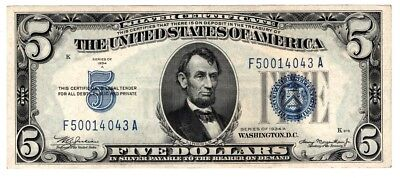 1934 $5 Silver Certificate,Large Blue Seal, XF - AU old money Nice!