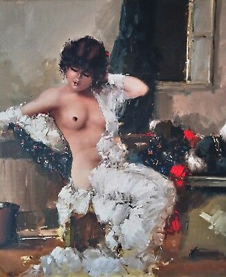 Italian Nude Lady Girl, Impressionist 20thC Signed Large Antique Oil Painting