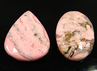 83.95 Ct Natural Pink Rhodochrosite Cabochon Loose Gemstone Lot 2 Pc new H-6704