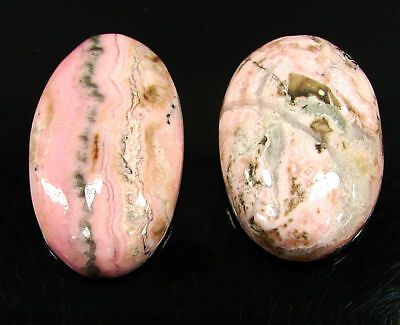 113.35 Ct Natural Pink Rhodochrosite Cabochon Loose Gemstone Lot 2 Pc new H-6698