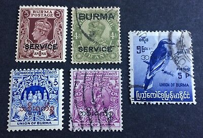 5 nice old used service stamps Union of Burma