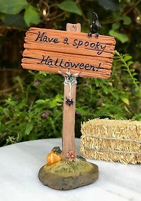 Miniature Dollhouse FAIRY GARDEN Accessories ~ Have a Spooky HALLOWEEN Sign