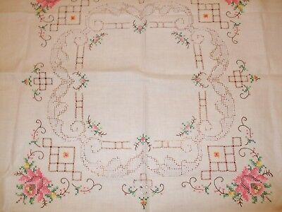 Rare VINTAGE German hand-cross-stitched embroidered table runner the interior