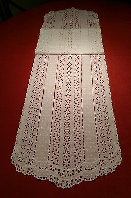 """Vintage White Cotton Eyelet Embroidered Lace Table Runner Dresser Scarf 60 x 13"""""""