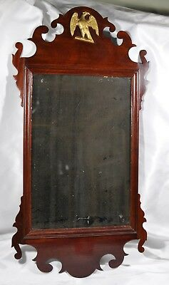 Antique American Mahogany Wood Chippendale Wall Mirror Gilded Eagle Provenance