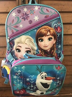 "Disney Frozen Anna & Elsa Kid's Backpack & Lunch Box Set School Bookback 16""x12"""