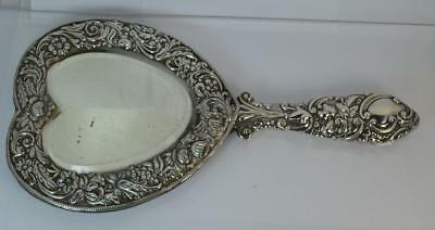 Antique Solid Silver Heart Shaped Hand Held Mirror