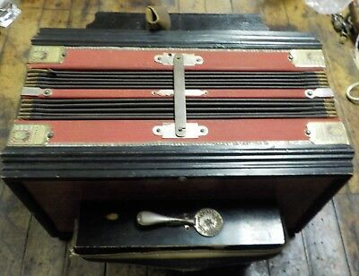 Antique Hohner Accordion / One Row 10 Buttons / Works