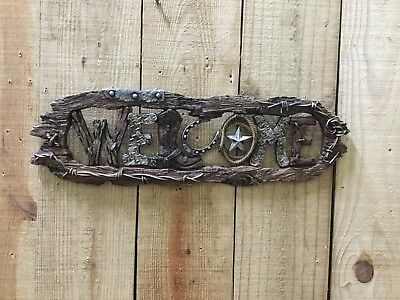 """Resin Barb Wire, Boot, Horseshoe, Star, Rope,everything Western """"Welcome"""" Plaque"""