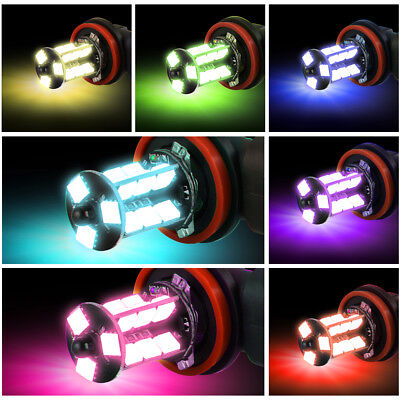 2x H8/H11 5050 RGB 12SMD LED Car Headlight Fog Light Lamp Bulb + Remote Control