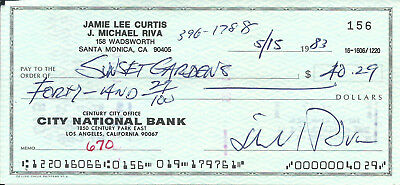 Jamie Lee Curtis Unsigned Personal Check