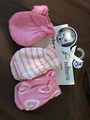 Brand new never used Gerber mittens pink 0-3 months 3 pack