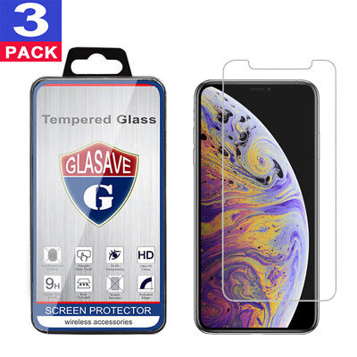 (3-Pack) Glasave Tempered GLASS Screen Protector For iPhone X / XS / XR / XS Max