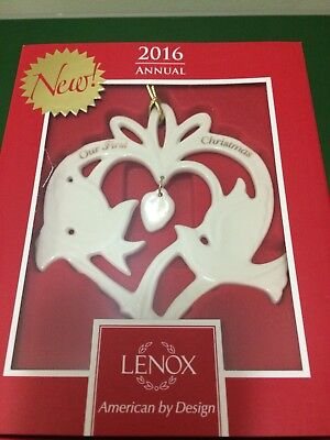 """Lenox 2016 Our First Christmas -  Heart w/ Doves Ornament 4.25""""  - New in Box"""