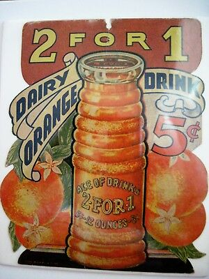 """RARE Vintage Advertising Card for """"Ace of Drinks 2 for 1 Dairy Orange Drink"""""""