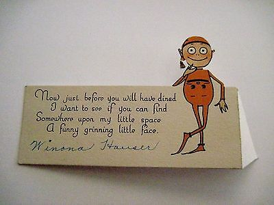 Vintage Darling Little Place Card w/ Elf Pictured On It