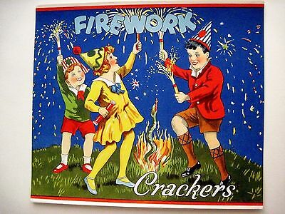 "Delightful 30-40's Art Deco English Label for ""Crackers"" Poppers w/Green Snake"