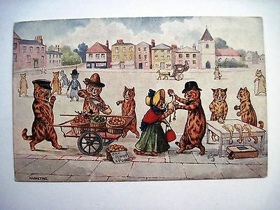 """Vintage TUCK Postcard by """"Louis Wain"""" w/ Cats Shopping at a Market"""