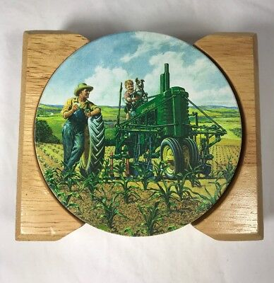 John Deere Father Son COASTERS WH Hinton Ceramic Cork Set of 4
