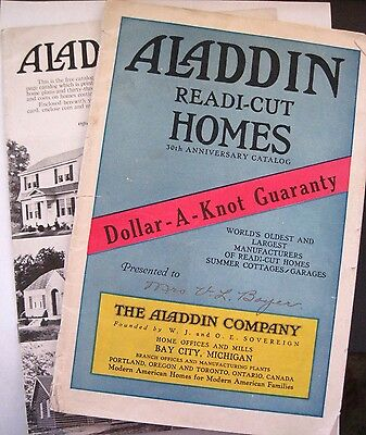 """Vintage Advertising Booklets """"Aladdin Readi-Cut Homes"""" w/Colored Pics of Homes"""