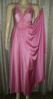 Olga PINK 92270 Nightgown Stretch Lace Bodice Full Sweep Gown Negligee L *AS IS*