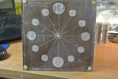 Vintage Last US 1964 Silver Coinage Desk Coin Clock NO MECHANISM ALL UNC