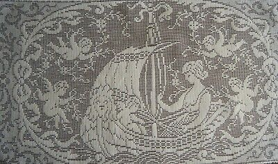 Old Vtg Doily Vanity tray Filet net lace Lady in ship w many Cupids &decoration