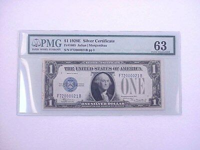 PMG Graded 1928E $1 One Dollar Silver Certificate 63 Choice Uncirculated