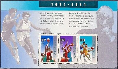 Canada Stamps — Souvenir sheet — 1991, Basketball, James A. Naismith #1344 — MNH